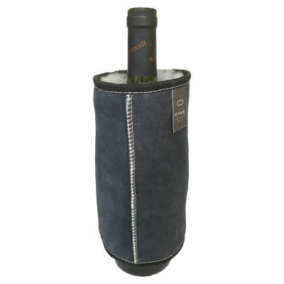 Durable Wine Sleeve Of Wool   Blue - Grey