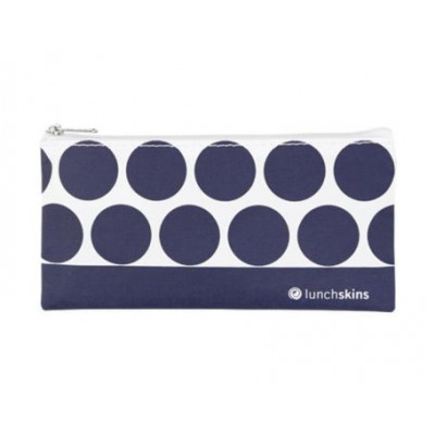Wiederverwendbare Reißverschluss-Sandwichtasche klein | Navy Dot