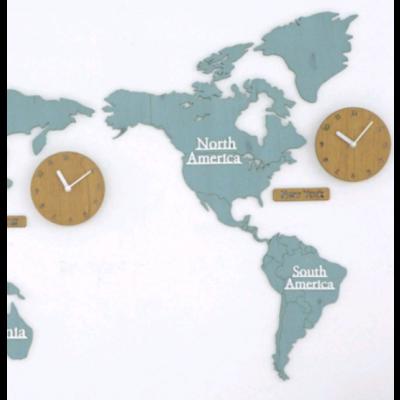 Worldmap & Wall Clock Set   Blue & Wood