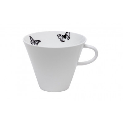 Teacup 60cl Black & White Butterfly