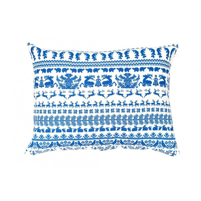Kissen Weiß/Blau