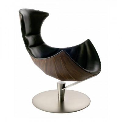 Lounge Chair Lobster | Walnut / Black Leather / Chrome Base