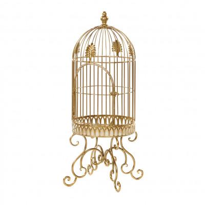 Vogelkäfig am Stand | Metallisches Gold