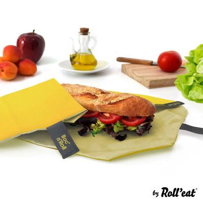 Wiederverwendbare Sandwichverpackung Boc'n'Roll Quadrat | Gelb