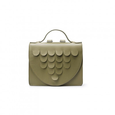 Leather Briefcase | Kaki