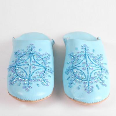 Damen Babouche Hausschuhe | Himmelblau