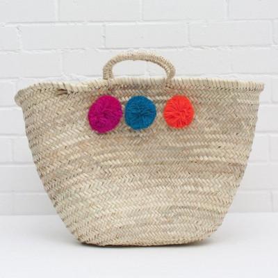 Pom Pom Basket Market Mixed | Fuchsia/Teal/Orange