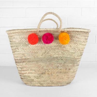 Pom Pom Basket Market Mixed | Orange/Fuchsia/Yellow