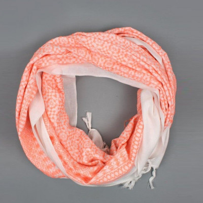 Embroidered Scarf  | Neon Coral