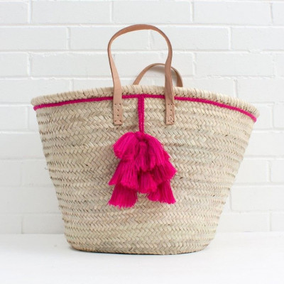 Fiesta Tassel Basket | Fuchsia