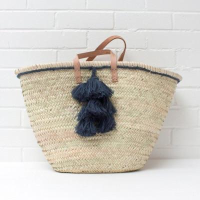 Fiesta Tassel Basket | Indigo