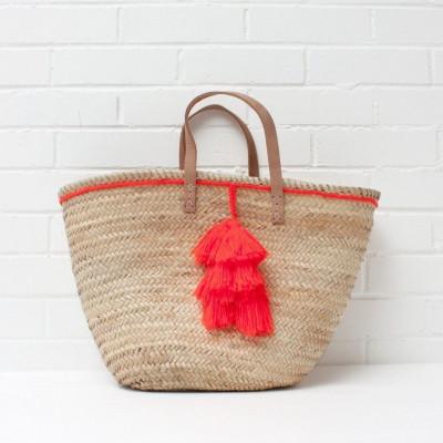 Fiesta Tassel Basket | Orange