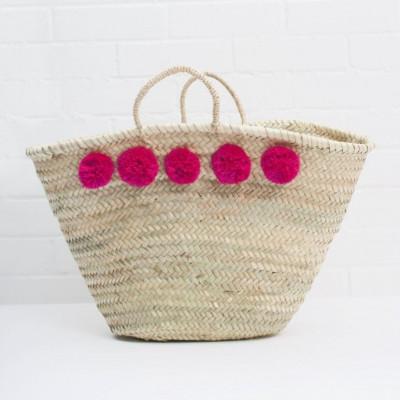 Pom Pom Basket Market | Fuchsia