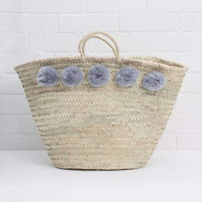 Pom Pom Basket Market | Grey