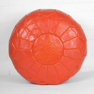Pouf aus marokkanischem Leder   Deep Orange