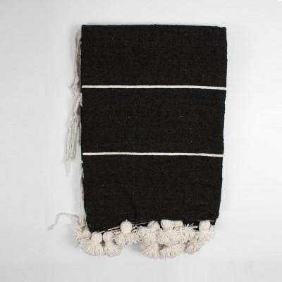 Tassel Cotton Stripe Blanket Small | White/Black