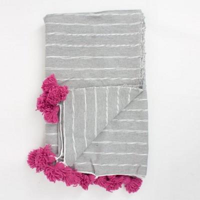 Grey Scribble Stripe Coton Blanket | Pink Tassels