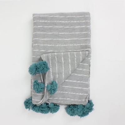Grey Scribble Stripe Coton Blanket | Blue Tassels