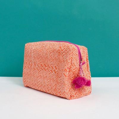 Zig Zag Wash Bag | Orange