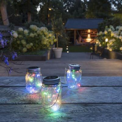 Solar Lighting in Jar Coloured | Set of 3