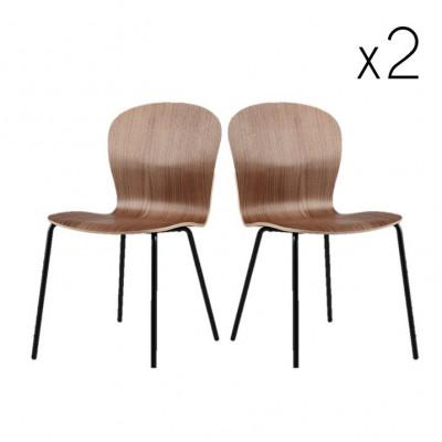 Lingua Esszimmerstuhl | Schwarz lackierte Stahlbeine / Sitz Matte lackierter Nussbaum