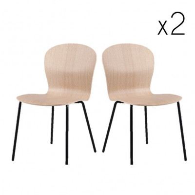 Lingua Esszimmerstuhl | Schwarz lackierte Stahlbeine / Sitz Eiche weiß
