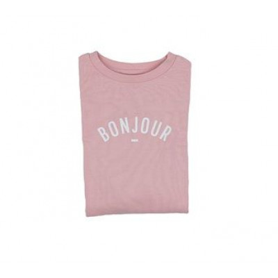 Sweatshirt   Bonjour   Pink