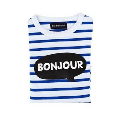 Weiß-blau gestreiftes bretonisches Bonjour-T-Shirt
