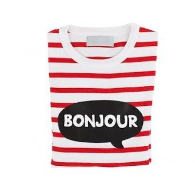 Weiß-rot bretonisch gestreiftes Bonjour-T-Shirt