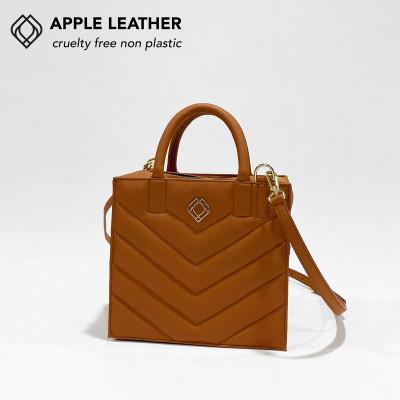 Box Tasche - Apfel-Leder Stiche   Ingwer-Braun
