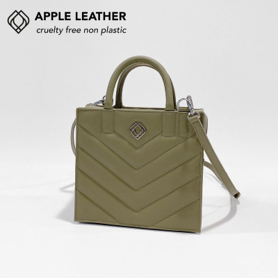 Box Tasche - Apfel-Leder Stiche   Olivgrün