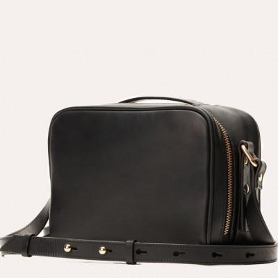 Leather Bag Boxed Crossbody | Black