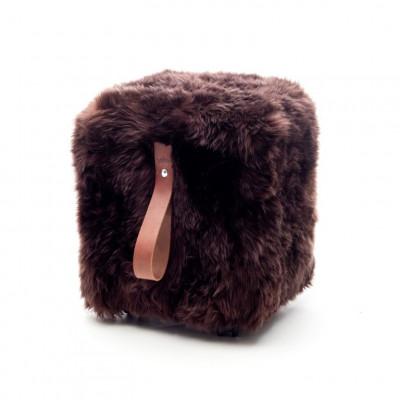 Quadratischer Schafsfell-Puff | Braun