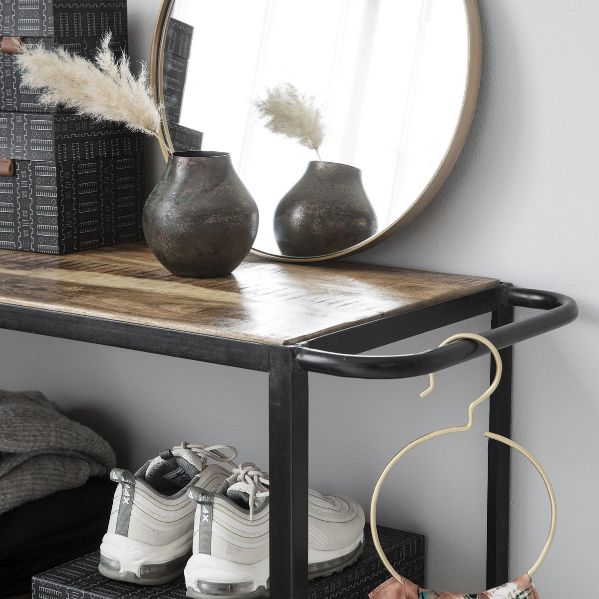 Regaleinheit 4 Räder 98 cm | Schwarz/Holz