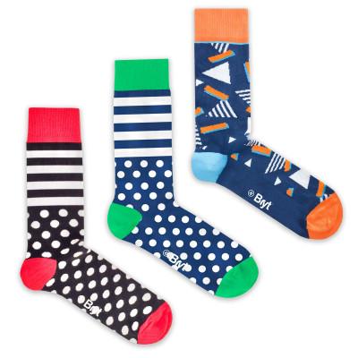 3 Pack Socks | Spots, Stripes, Retro Patterns