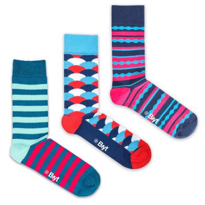 3 Pack Socks |Stripes, Fan, Diamond Stripe Patterns