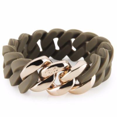 The Silicone bracelet   Dark Olive & Soft Gold
