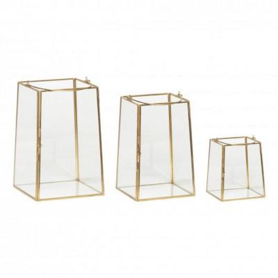 3er-Set Glaslaterne | Messing