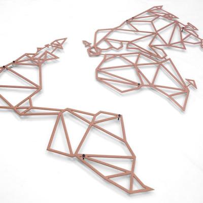 Wanddekoration Weltkarte | Bronze Metallic