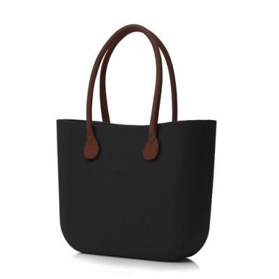 O Tasche braune Ledergriffe   Schwarz