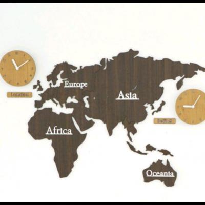 Worldmap & Wall Clock Set   Brown & Wood