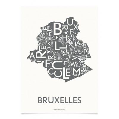 Brüssel Poster | Grau