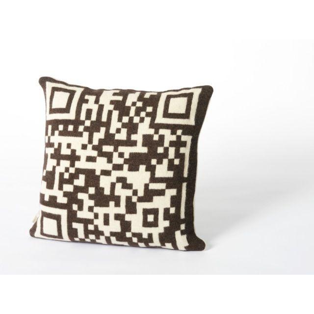 Bar-code 2D Cushion Dark Brown