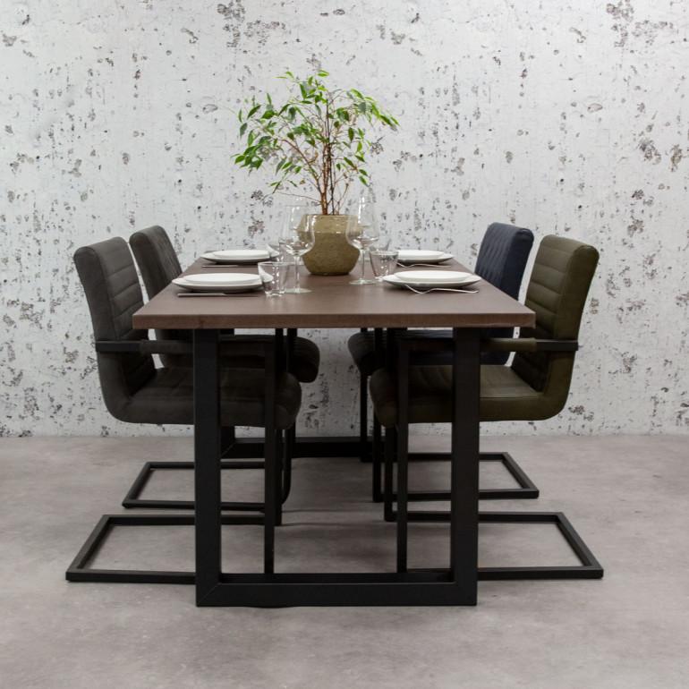 Breazz Leder Tisch U-Rahmen | Dunkelbraun - 180x90cm