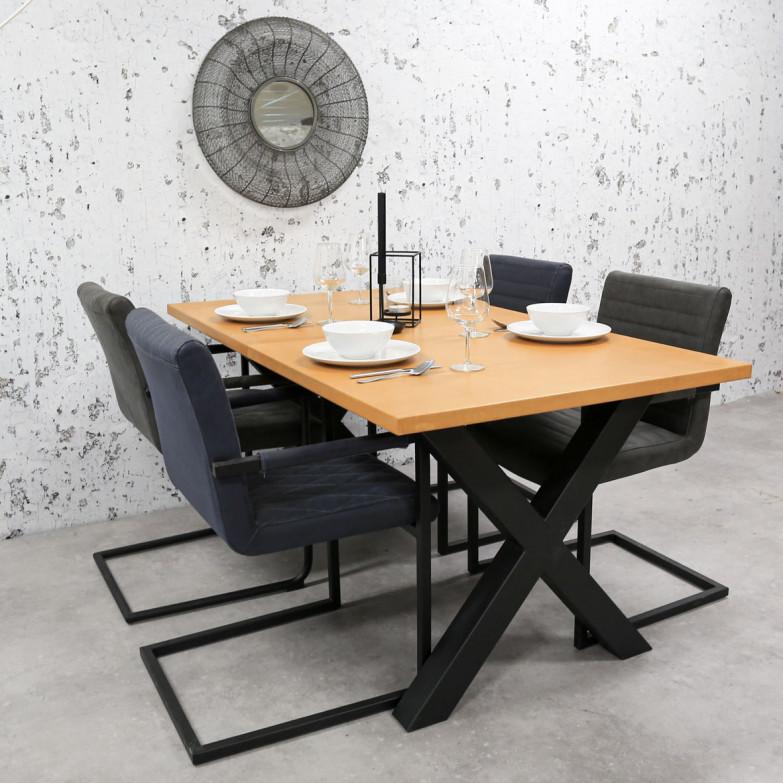 Breazz Leder Tisch X-Rahmen | Cognac - 180x90cm