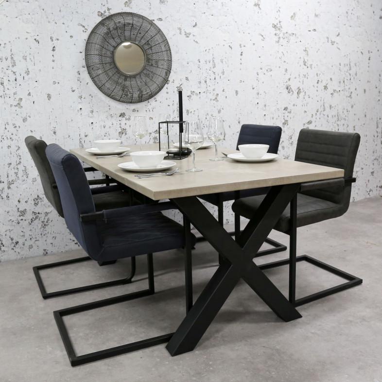 Breazz Leder Tisch X-Rahmen   Grau - 160x80cm