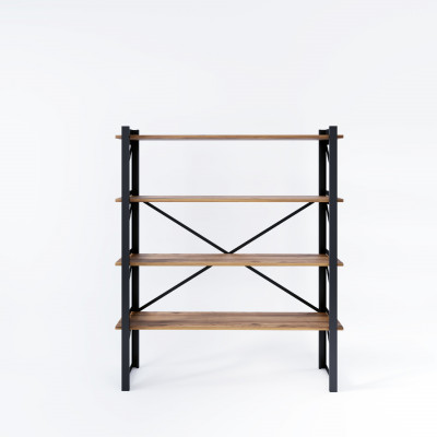 Bücherregal Line 120x35x150 cm | Schwarz-Holz