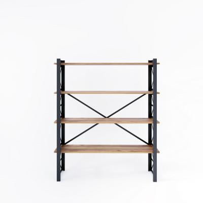 Bücherregal Star 120x35x150 cm | Schwarz-Holz