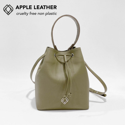 Beuteltasche - Apfel-Leder Stiche | Olivgrün