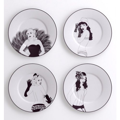 A set of 4 Burlesque Decorative Plates Small